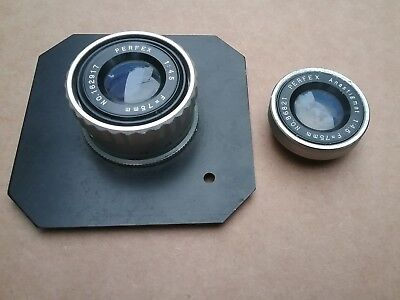 2 Perfex 75mm 1:4.5 f=75mm  lenes ...one has mount and one  outter lens