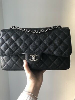 a8798b35862 Auth Chanel Jumbo Black Double Flap Caviar Leather Silver Hardware Shoulder  Bag