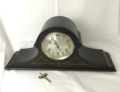 Seth Thomas Westminster Wood Mantel Clock & Key Antique Vtg Chime No 90 Mvmt 124