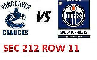 1-2 Tiks Edmonton Oilers Vs Vancouver Canucks Mar 7 Rogers Place Sect 212 Row 11