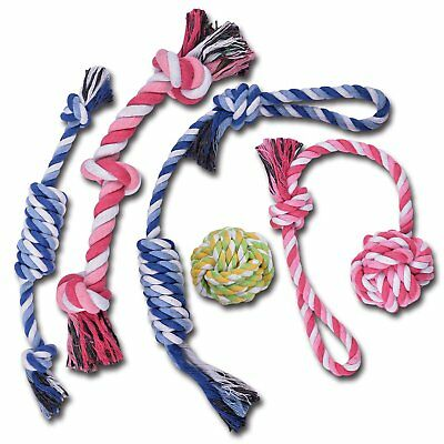 TOYSBOOM 5 piece Dog Rope Toys Puppy Flossy Chew Rope Tug Toy for Small, Medium