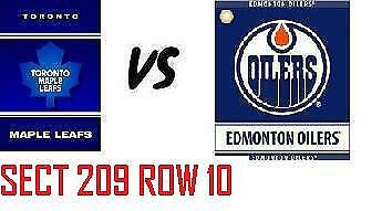 1-2 Tiks Edmonton Oilers Vs Toronto Maple Leafs Mar 9 Rogers Place Sect 209 R10