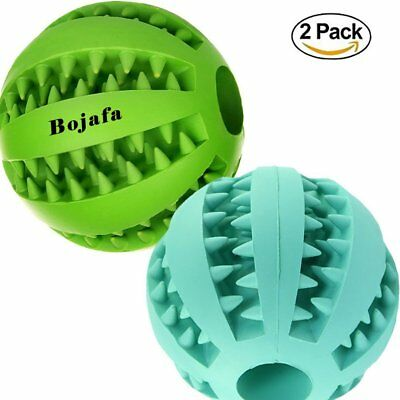 Puppy Small Medium Dog Toys Balls (2 Pack) Rubber Durable Tough Dog IQ Toys for