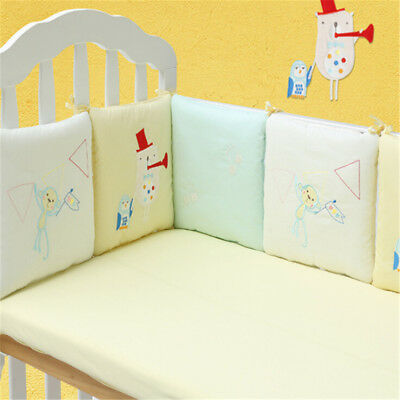 Baby Crib Bumper Breathable Comfy Cotton Toddler Bed Cot Protector 6PCsFE