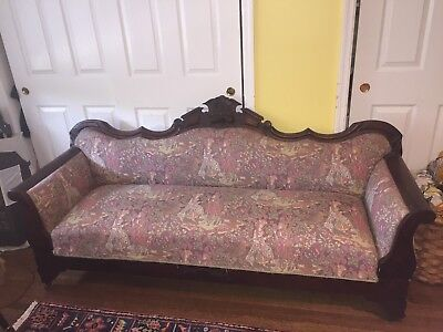 Rare Antique Victorian Wood Small Sofa Opens To Bed Cinderella  Style Child Size