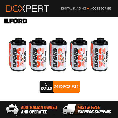 ILFORD XP2 SUPER – 5 PACK – 24 EXPOSURES – 35mm BLACK & WHITE NEGATIVE FILM