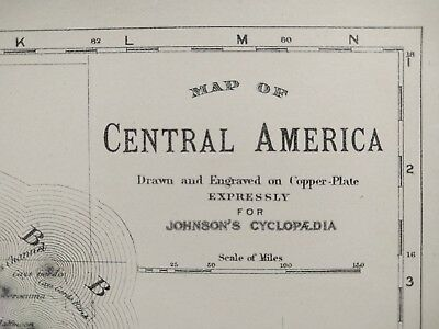 "Vintage 1874 CENTRAL AMERICA 13.5""x10.75"" Old Antique BELIZE COSTA RICA MAPZ"