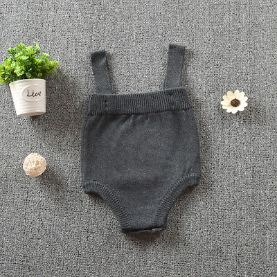 Newborn Baby Infants Knitted Suspender Skirt Overalls Rompers Jumpsuit Witty