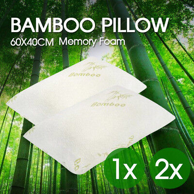 1x 2x Luxury Bamboo Memory Foam Pillow Fabric Fibre Cover Contour 60 x 40cm