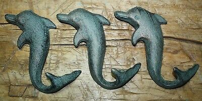 3 Cast Iron Antique Style DOLPHIN Coat Hooks Hat Hook Rack Towel Nautical Beach