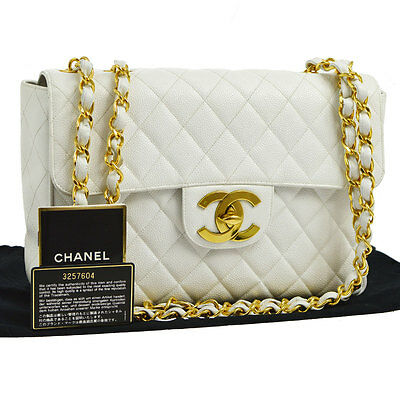 42a7445f6ad0 Auth CHANEL Jumbo Quilted CC Double Chain Shoulder Bag WH Caviar Leather  BA01161
