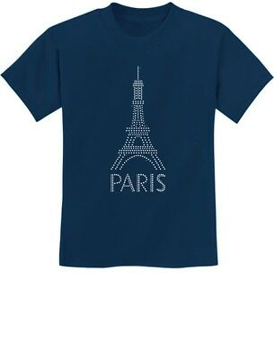 I Heart Love Eiffel Tower Logo Kids Tee Shirt Boys Girls Unisex 2T-XL
