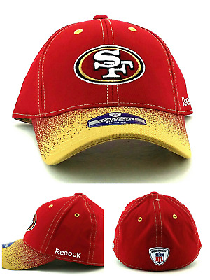 brand new feccf 0d98f San Francisco 49ers New Reebok Youth Kids Sideline Red Gold Flex Fit Era  Hat Cap