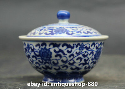 """3.5"""" Chinese Jingdezhen Blue White Porcelain Qing Dynasty Tea Canister Caddy G69"""