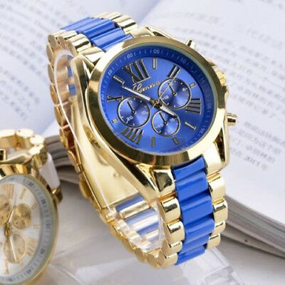 Chic Luxury Men Geneva Stainless Steel Roman Numerals Quartz Analog Wrist Watch