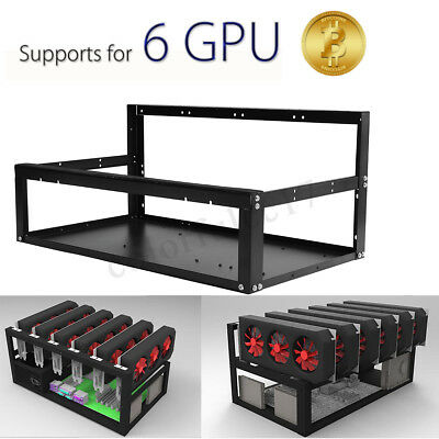Crypto Coin Open Air Mining Miner Rig Frame Case Shelf For 6 GPU BTC Ethereum