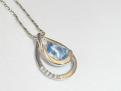 Ladies Art Deco Sterling 925 Silver 1.5 Ct Blue Topaz & White Sapphire Pendant