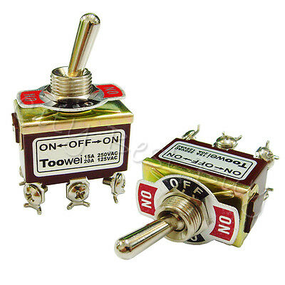 10 ON-OFF-ON T702CW DPDT Toggle Switch 15A 250VAC 20A 125VAC Heavy Duty Latching