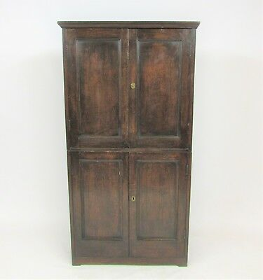 Large Mahogany Stained Pine Victorian House Keepers Or School Cupboard