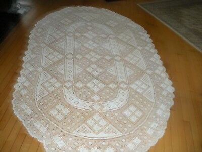 """vintage hand crafted lace tablecloth ivory oval 92"""" X 58"""" Beautiful"""