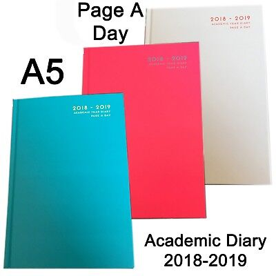 A5 Hardback Page A Day Academic planner diary mid year 2018 2019 student teacher
