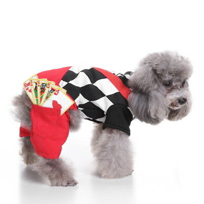 Magician Dog Costume Halloween Small Pet Cat Clothing Puppy Jumpsuit Poker Suit
