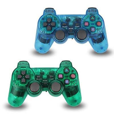 2Pcs Pack Wireless Game Controller Double Shock Gamepad For Sony Ps2 Playstation