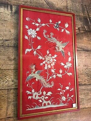 Large Fine 19th Century Antique Chinese Framed Silk Embroidery Art Framed in VGC