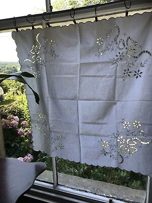 "Superb Chateau antique FRENCH white Linen CURTAIN DRAPERY Or Tablecloth 29""/29"""