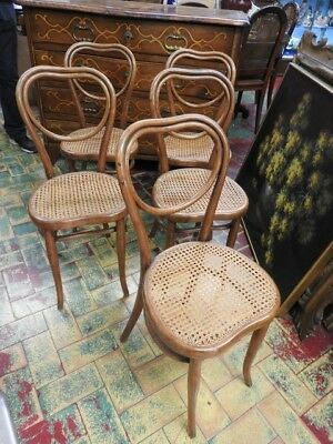 Group Of 5 Chairs Thonet Straw Of Vienna Heart-Shaped Austria Period Original