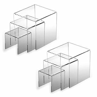 "Top Quality 2 Sets Of 3pcs Clear Acrylic Display Riser 3"" 4"" 5"" Jewelry"
