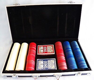 Nevada Style No. 1860 Casino Poker Playing Cards, 312 Chips & Aluminum Case NEW!