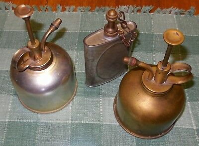 Antique Vintage Old Brass Or Aluminum Atomizers Spritzers & Tin? Flask Oil Can