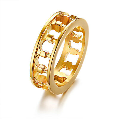 Vintage Rome Roman Italy Greece Colosseum Men Ring Hollow Loop Band Gold Plate
