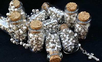 12×HANDMADE NEW ROSARY BOTTLE BAPTISM COMMUNION RECUERDOS DE BAUTIZO QUINCEANERA