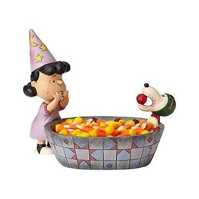 Enesco Jim Shore Peanuts Halloween Candy Dish 6000982 NEW Snoopy Lucy Apples