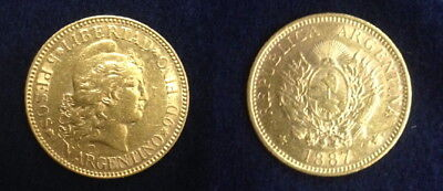 Argentina 1887 Five Gold Peso---Authentic Date Not Random--High Grade & Lustrous