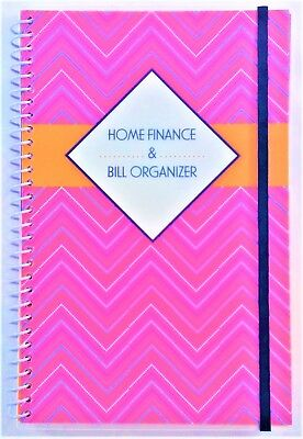 Home Finance & Bill Organizer with Pockets (Pink Zig-Zag)