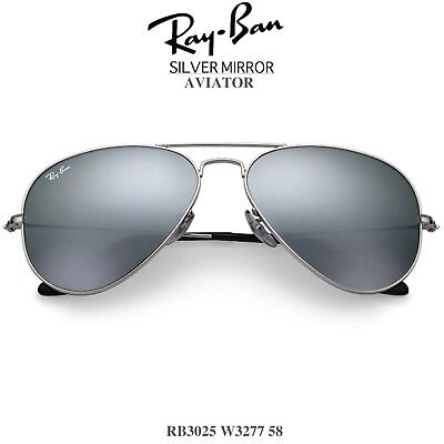a2347e8b89 New RAYBAN Aviator Sunglasses Silver Frame Mirrored Lens RB3025 W3277 58mm