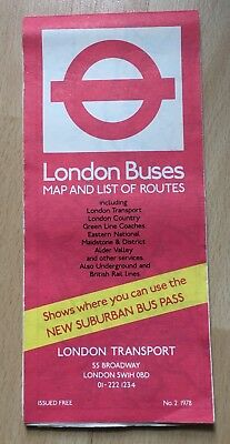 LONDON Buses ROUTE Map 1978 Map And List Of Routes Bus Collectible Vintage
