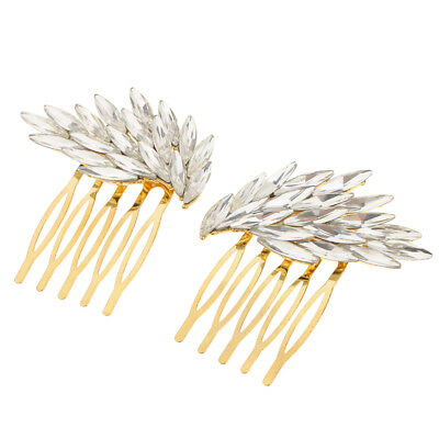 2Pcs Wedding Bridal Crystal Hair Pin Clip Comb Accessories Angel wings Gold