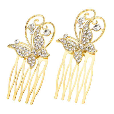 2Pcs Wedding Bridal Crystal Hair Pin Clip Comb Accessories Butterfly Gold