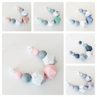 Silicone Teething Wooden Beads Necklace Nursing Breastfeeding Sensory BPA Free