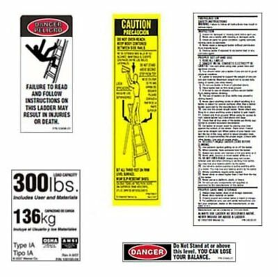 Werner 300 LB Fiberglass Step Ladder Label Kits (Pack of 6)