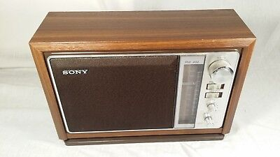 Vintage Sony ICF-9740W Table Desk AM/FM Radio 2 Bands Woodgrain Tested And Works