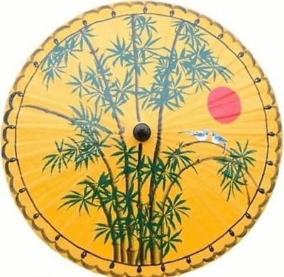 Parasol Umbrella Bamboo on yellow Painted on Oiled Cotton