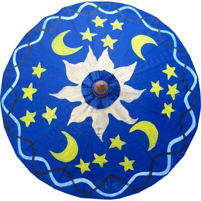 Parasol Umbrella Sun and Moons on Blue Painted on Oiled Cotton