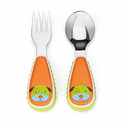 Skip Hop Baby Zoo Little Kid And Toddler Fork Spoon Utensil Set Multi Darby Dog