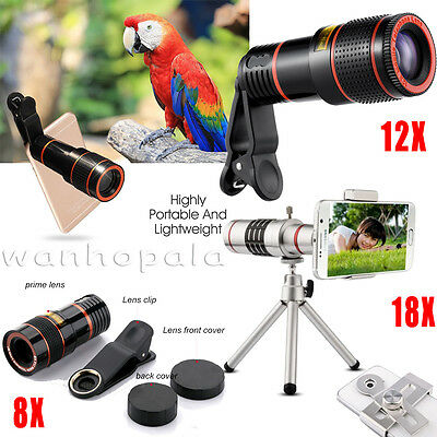 US Clip-on 8X 12X 18X Optical Zoom Telescope Telephoto Camera Lens For iPhone 8