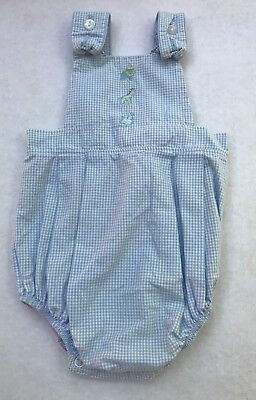 Vintage Baby Boys Romper Sunsuit Blue Plaid Embroidered Animals 3/6 Months
